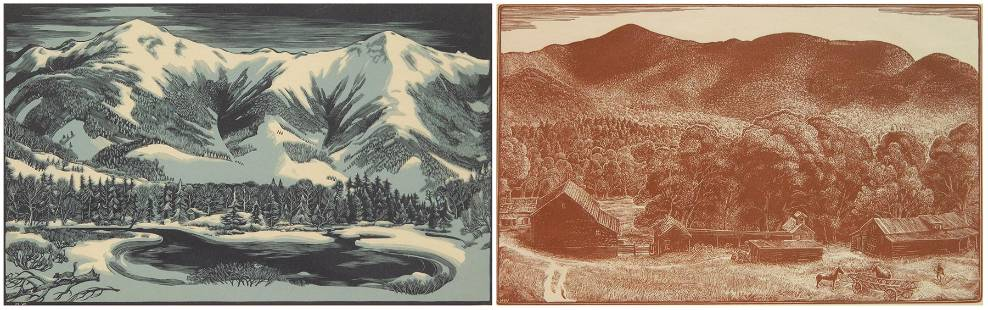 2 Herbert Waters wood engravings in colors
