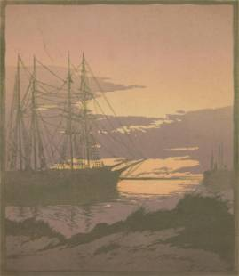Ernest Watson woodblock in colors
