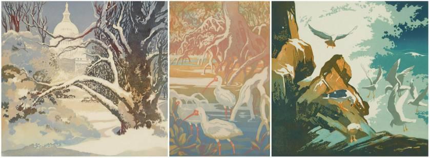 3 Eva Watson woodblocks in colors