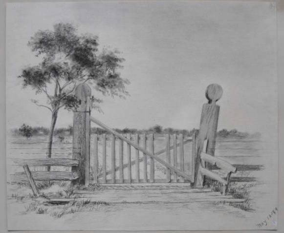 2: 19th c. American School charcoal drawing