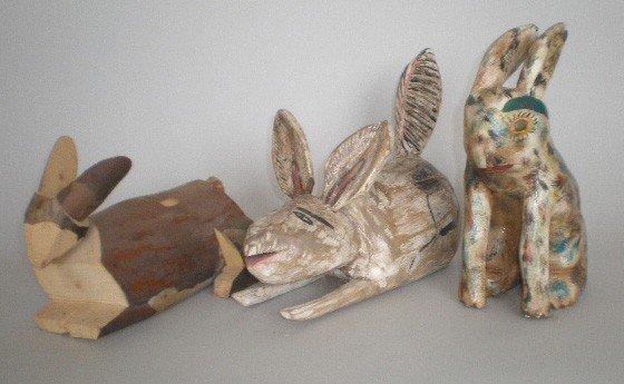 3: American and Mexican folk art rabbits