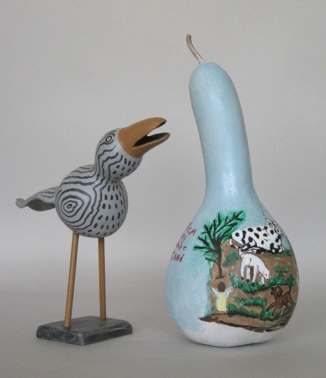 7: 2 hand-painted gourds