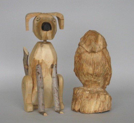 10: 2 folk art wood carvings
