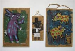 346: Cher Shaffer 3 paintings on brown paper bag