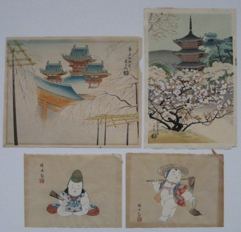 1: 20th c. Japanese School 4 woodblock prints