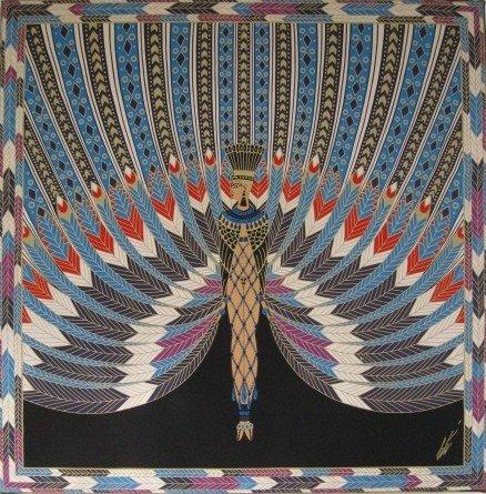 708: after Erte silk scarf