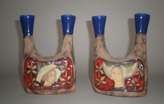 717: Pair of Italian porcelain candlesticks