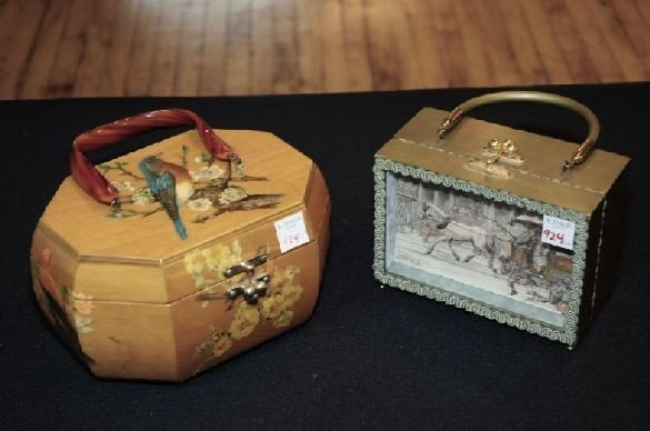 924: 1 Anton Pieck Shadow Box Purse & 1 Wood Basket Pur