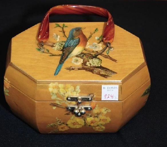924: 1 Anton Pieck Shadow Box Purse & 1 Wood Basket Pur - 2