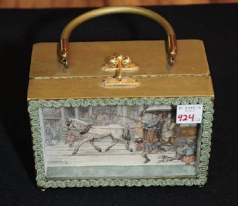 924: 1 Anton Pieck Shadow Box Purse & 1 Wood Basket Pur - 3