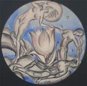 388: Gertrude Saastomoinen watercolor and charcoal