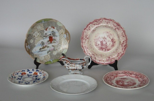 1: 19th c. English creamer and plates