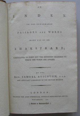 6: Rev. S. Ayscough-  Shakespeare book