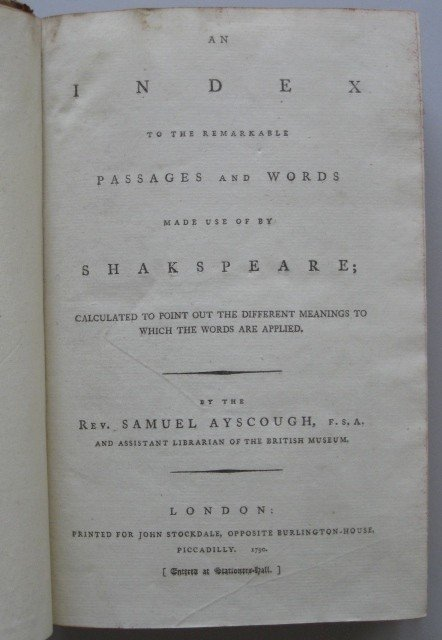 6: Rev. S. Ayscough-  Shakespeare book