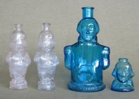 2: 4 Figural glass bottles