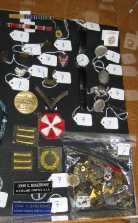 7: Lot of men's accessories, military pins, etc.