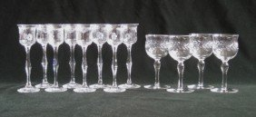 20: Set of 8 etched glass liquor glasses