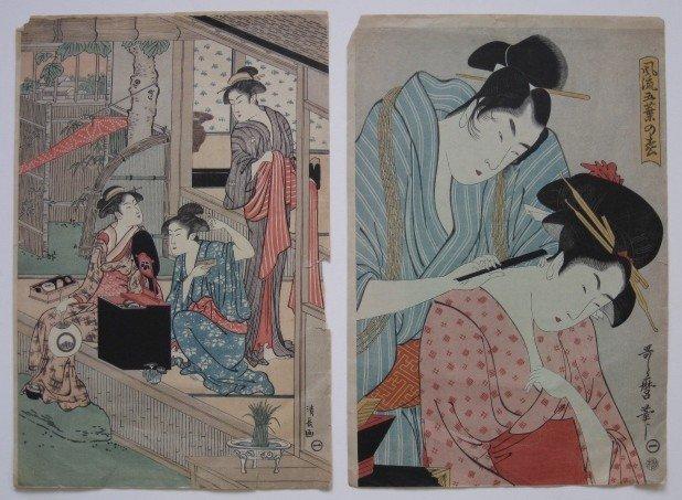 20: Kiyonaga, Utamaro - 2 woodblocks