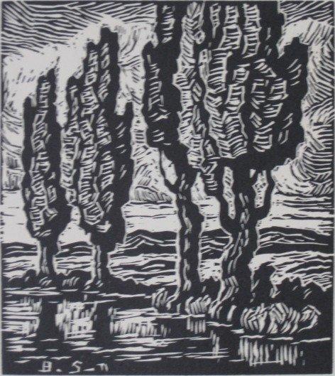 266: Birger Sandzen linocut