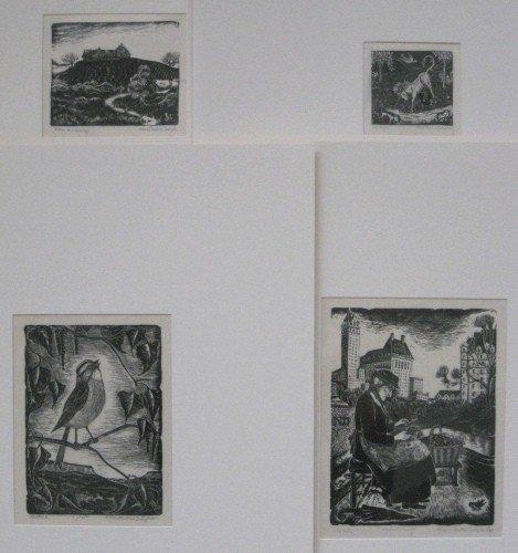 269: Alice Pauline Schafer 4 wood engravings