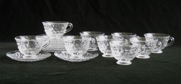620: Fostoria glass cups and saucers
