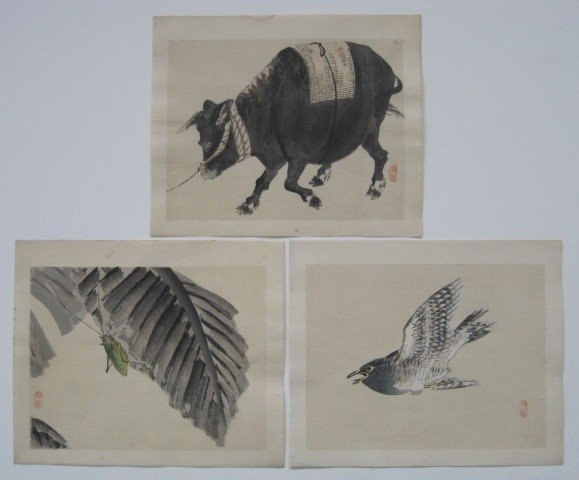 9: Bairei Kono 3 woodblocks