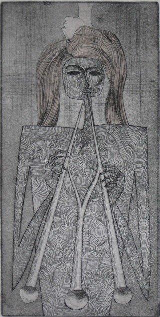 14: 20th c. American School etching