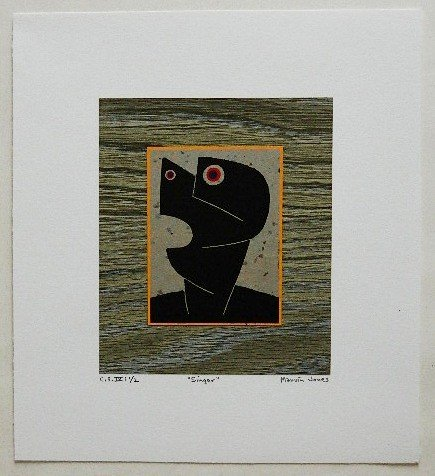 333: Marvin Jones woodcut and collage - 2