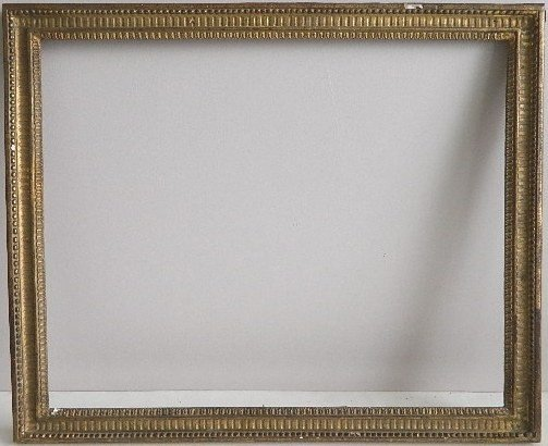 848: Hand carved gilded frame, bead and tongue motifs