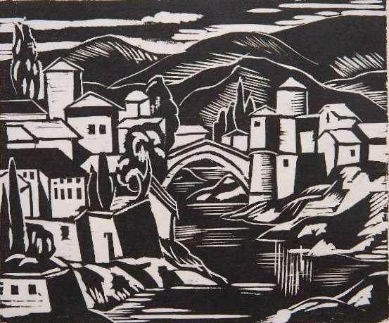 74: Emil Ganso linocut