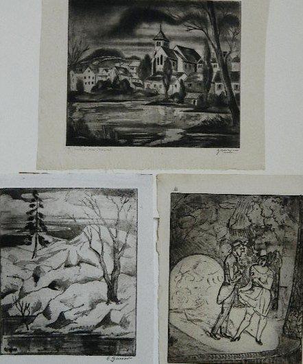 78: Emil Ganso 3 etchings