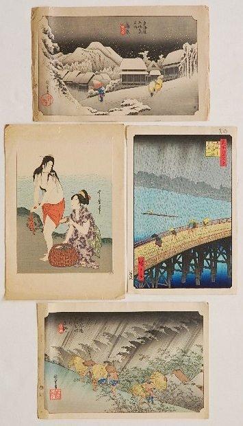 12: Hiroshige Ando; Utamaro Kitagawa - 4 woodblocks