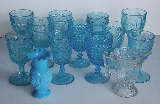 123: 11 Early American Pressed Glass blue goblets