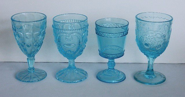123: 11 Early American Pressed Glass blue goblets - 2