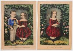 337 Currier  Ives 2 handcolored lithographs