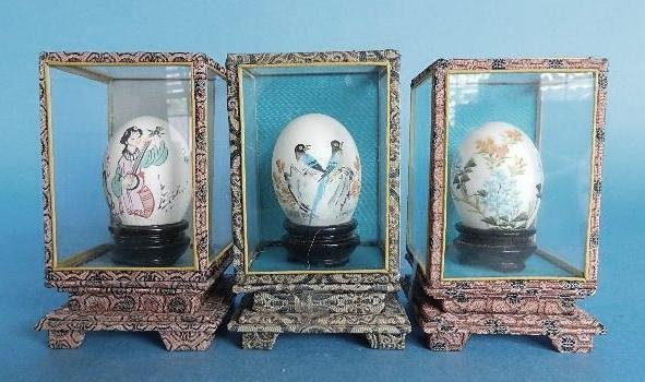 433: Set of 3 Japanese hand-painted egg shells