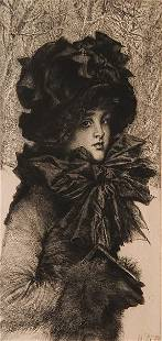 James J. Tissot etching and drypoint