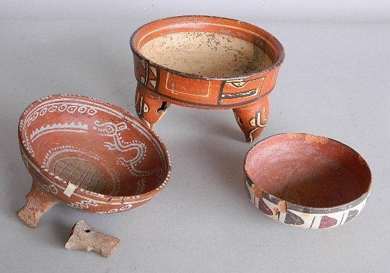3 Mexican reproduction ceramic bowls