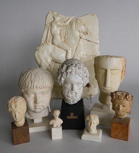 8 Greek & Roman style reproduction heads & relief