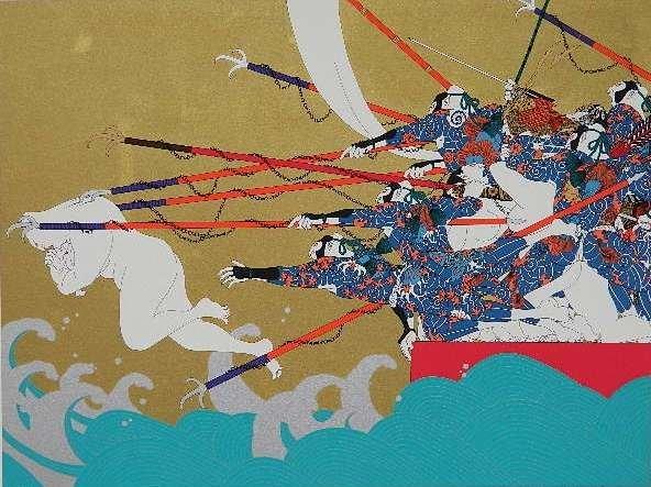 Hideo Takeda silkscreen in colors