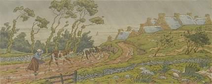 Henri Riviere lithograph in colors
