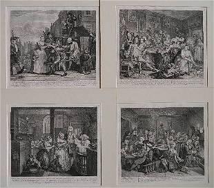William Hogarth set of 8 engravings
