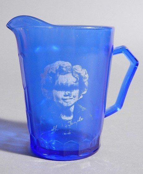 1930's Cobalt & blue Shirley Temple glass pitcher