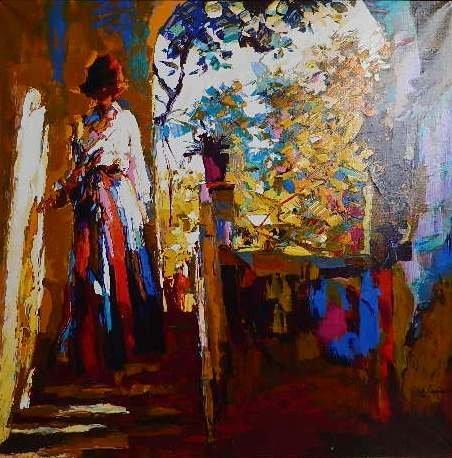 after Nicolas Simbari print on canvas