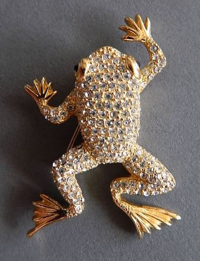 Christian Dior costume jewelry frog brooch