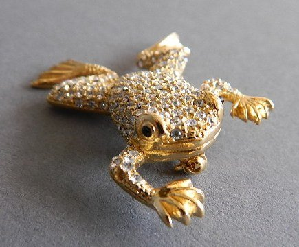 Christian Dior costume jewelry frog brooch - 2
