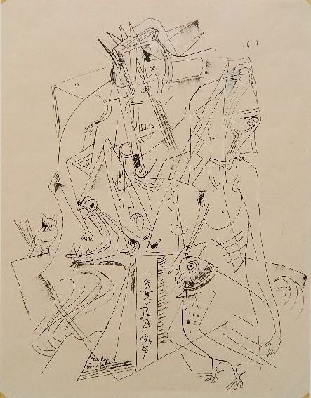 Charles Campbell pen and ink