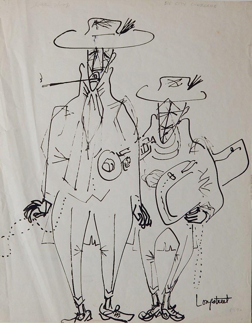Stephen Longstreet pen and ink