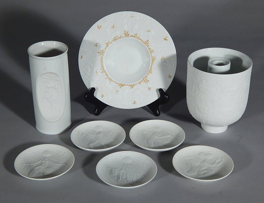8 Bjorn Wiinblad porcelain white bisque pieces