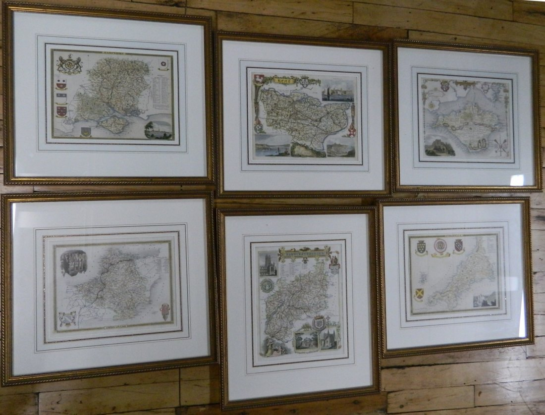 Set of 6 English County maps